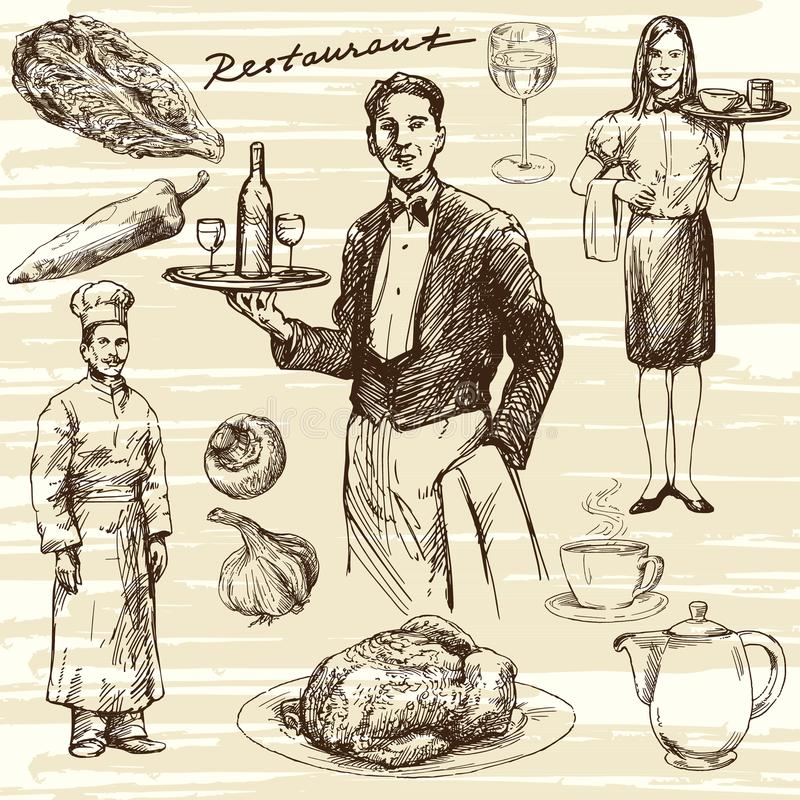 Waiter serving wine on a tray. Hand drawn illustration. Waiter serving wine on a tray royalty free illustration