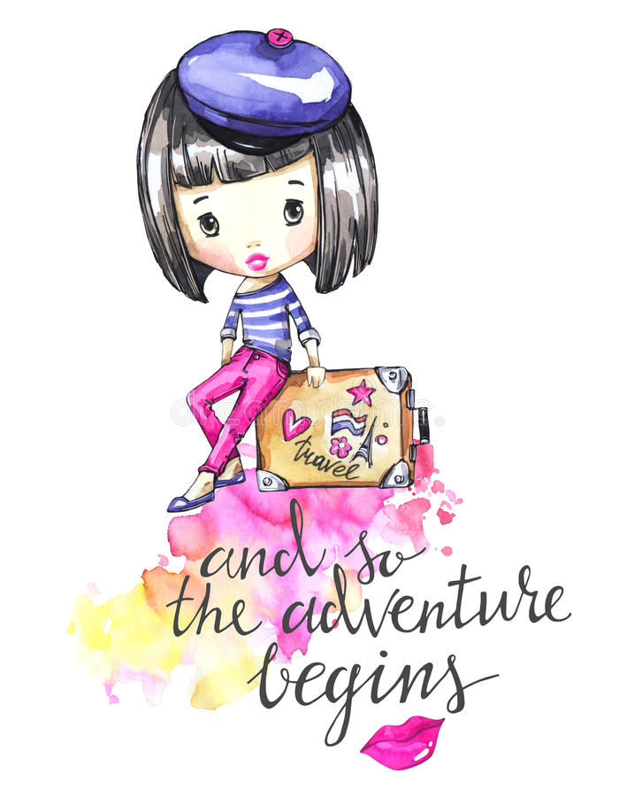 Hand drawn illustration. Watercolor card young girl with travel bag. Calligraphy words . Adventure, vacation. Can be royalty free illustration