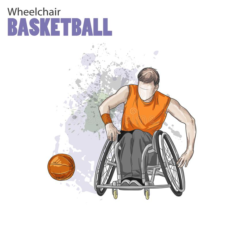 Hand drawn illustration. Wheelchair Basketball. Vector sketch sport. Graphic figure of disabled athlete with a ball royalty free illustration