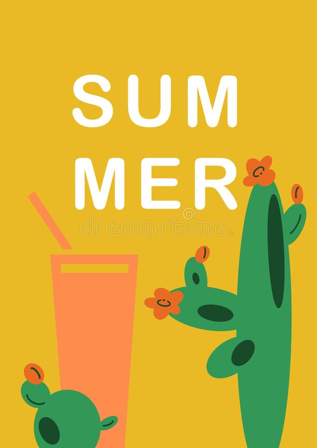 Hand-drawn illustration yellow background with Mexican cactuses and drink in flat cartoon style. royalty free illustration