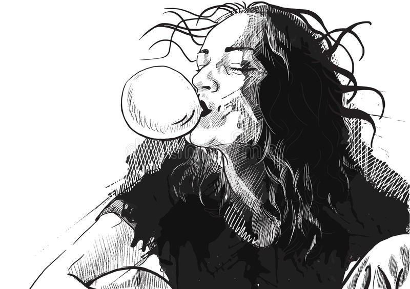 Bubble gum. An hand drawn illustration of young woman blowing bubble from chewing gum. Vector description: Editable in 4 layers stock illustration