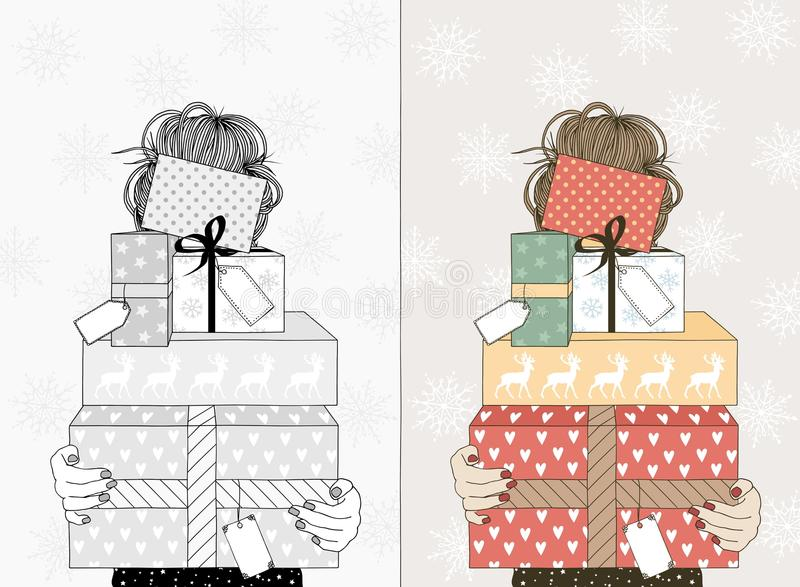 Young woman with Christmas gifts. Hand drawn illustration of a young woman holding a variety of boxes with Christmas gifts and empty name tags - in black and royalty free illustration