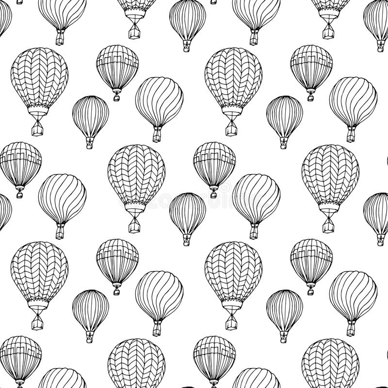 Hand-drawn illustrations. Black and white aerostats. Seamless pattern. royalty free illustration