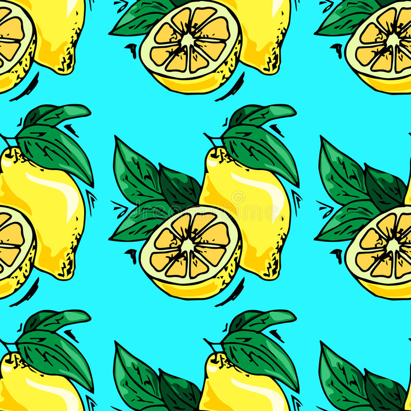 Hand-drawn illustrations. Card with fruits, lemons. Seamless pattern. royalty free illustration