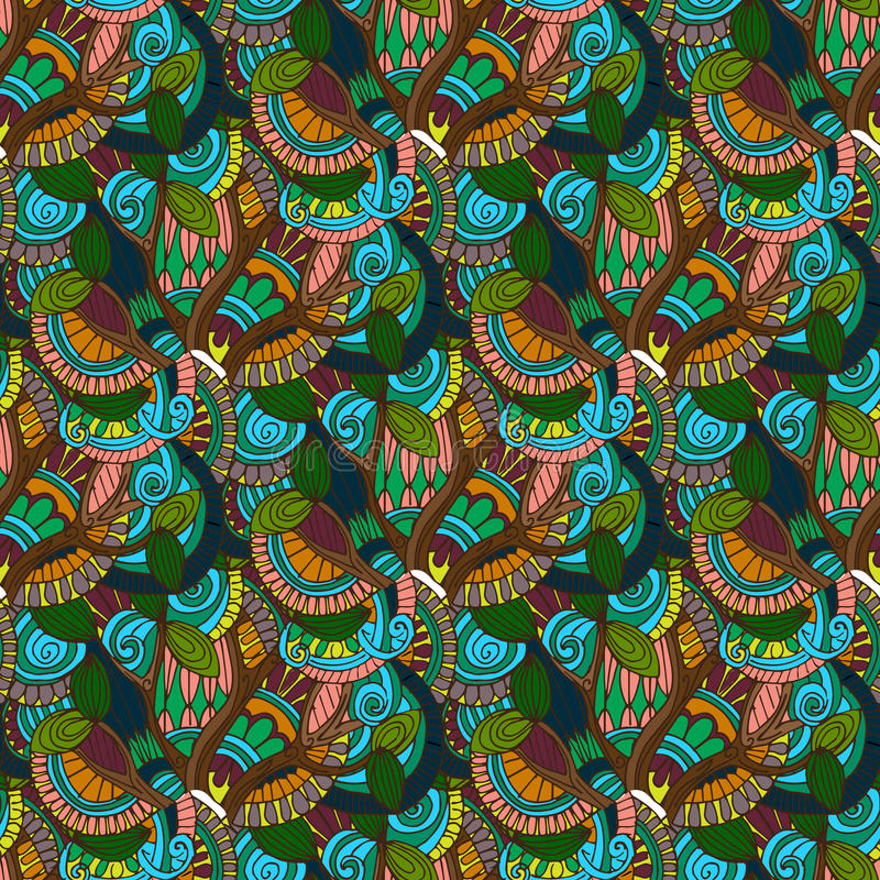 Hand-drawn illustrations. Color natural abstraction. Seamless pattern. royalty free illustration