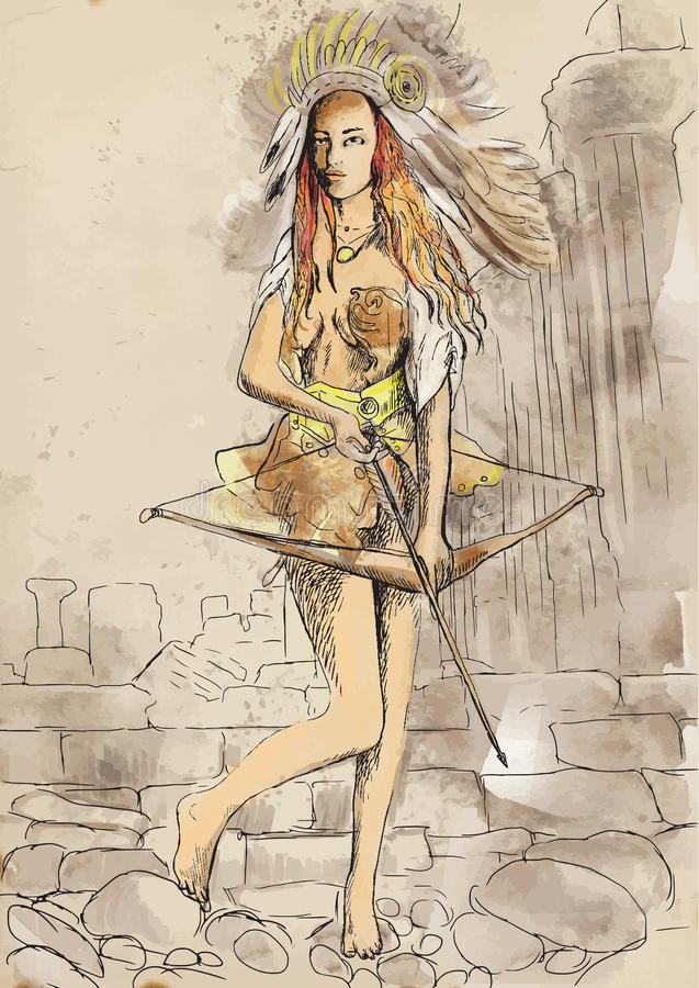 Greek Woman Warrior Amazon stock vector. I...