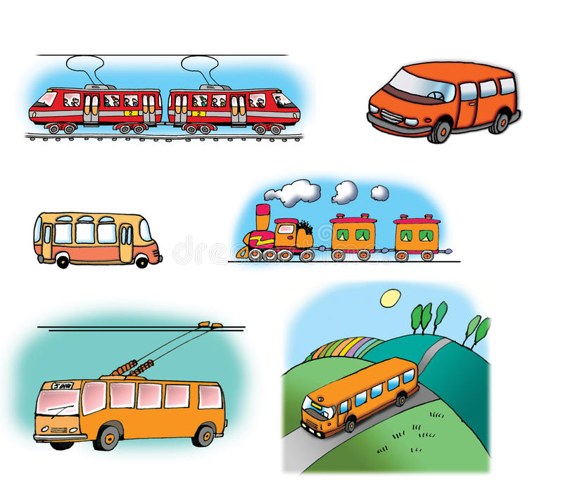 Hand drawn illustrations about different vehicles royalty free illustration