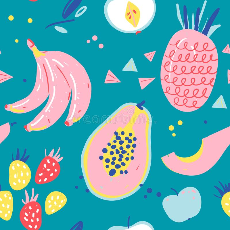 Hand drawn illustrations of fruit in bright colors and modern handrawn sketch style. Neon  seamless pattern. Endless backgro. Und of tropical fruit ingredients vector illustration