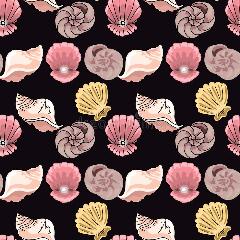 Hand-drawn illustrations. Image with seashells on the depth of the sea.Seamless pattern. stock illustration