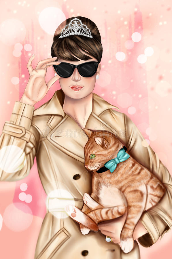 Hand drawn image - Girl wearing elegant outfit, black sunglasses and holding a cat. Girl wearing elegant outfit, black sunglasses and holding a cat royalty free illustration