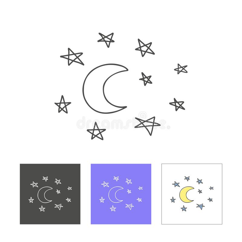 Hand drawn image of moon with star vector illustration