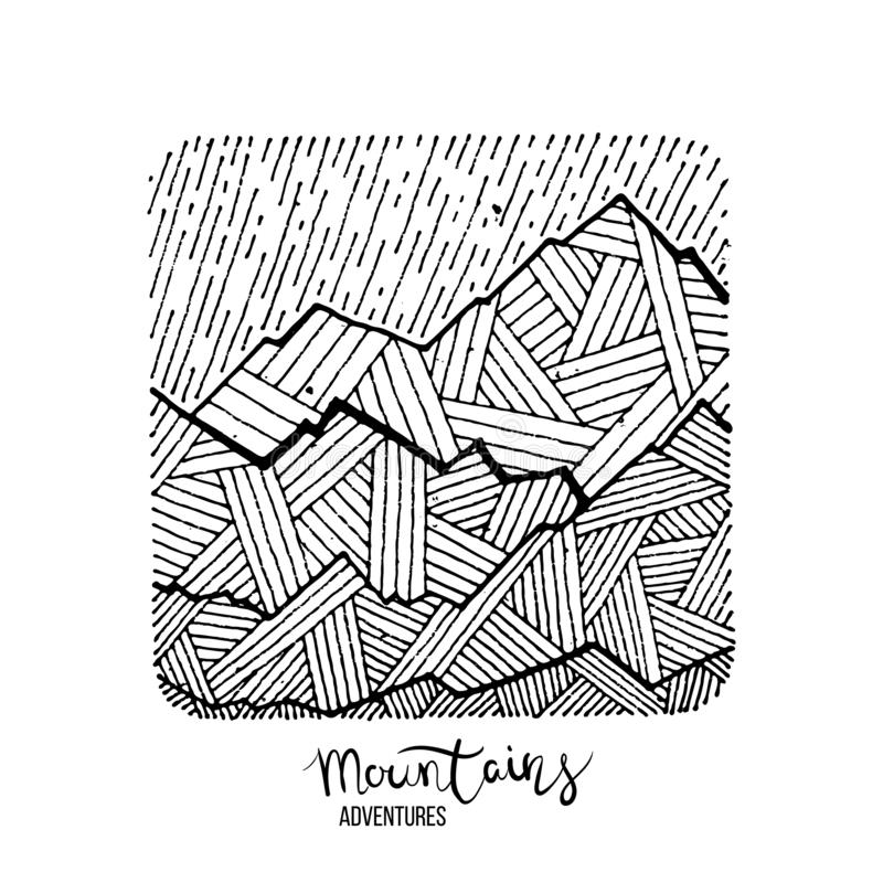 Hand drawn image of a mountain peak, engraving style, grunge textured. Vector illustrations royalty free illustration