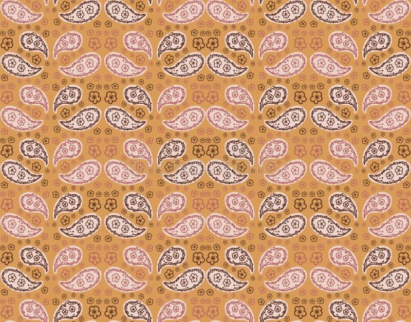 Hand Drawn Indienne Paisley Motif Seamless Pattern Ornate Arabesque Buta Foulard Design on Saffron Yellow Background gepeld royalty-vrije illustratie