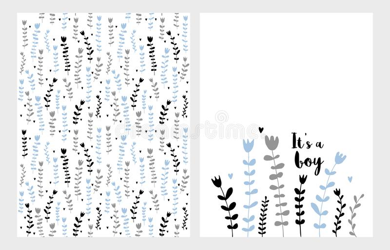 Hand Drawn Infantile Floral Vector Illustrations Set. Blue, Grey and Black Flowers on a White Background. It`s a Boy Card. royalty free illustration