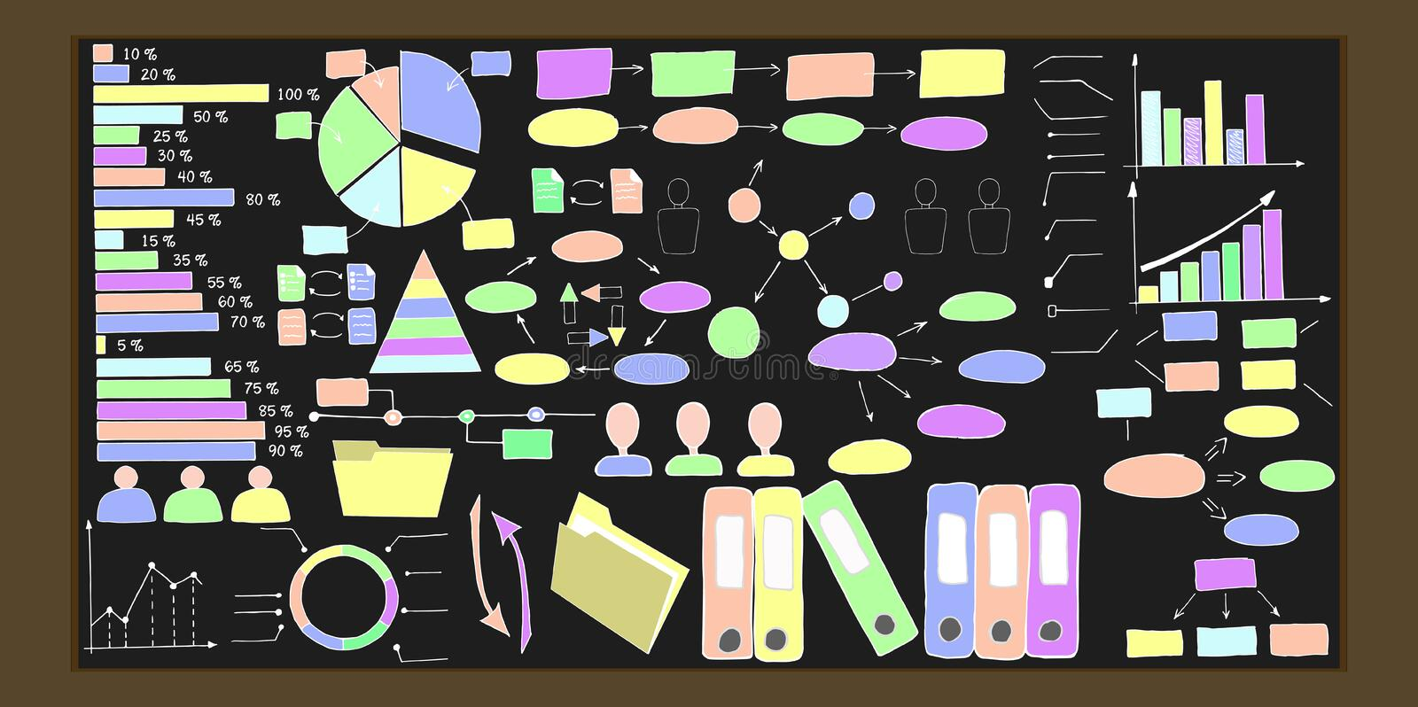 Hand drawn infographic elements. Vector collection stock images