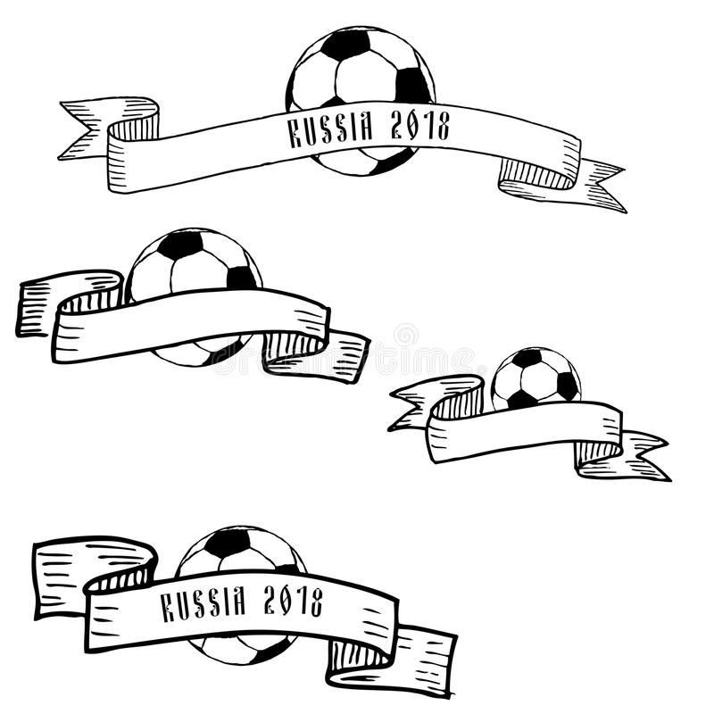 Hand drawn ink frames with football ball vector illustration