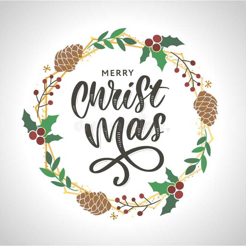 Hand drawn ink Christmas wreath with bump, fir branches, Christmas decorations. design for adults, poster, print sketch vector. Hand drawn ink Christmas wreath stock illustration