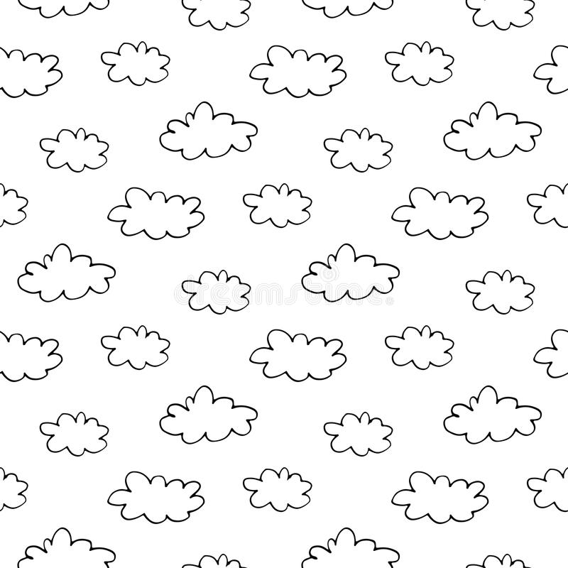 Hand Drawn Ink Clouds Seamless Pattern stock photo