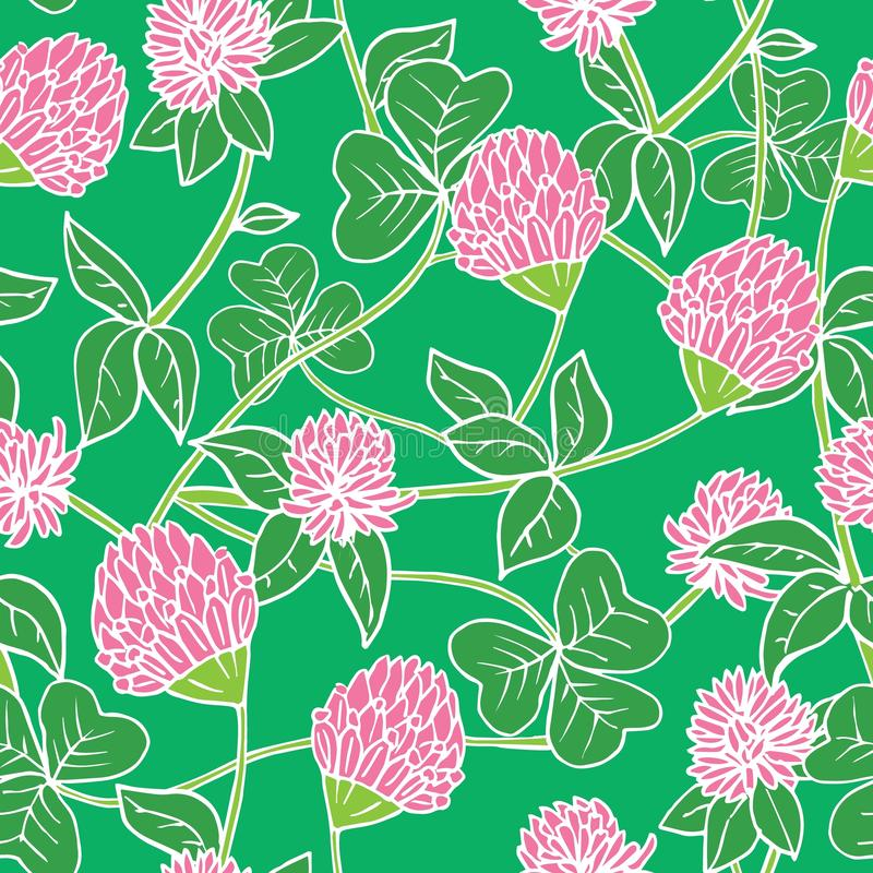 Hand drawn ink and color seamless vector floral pattern. Bright pink clover flowers with green leaves on dark blue vector illustration