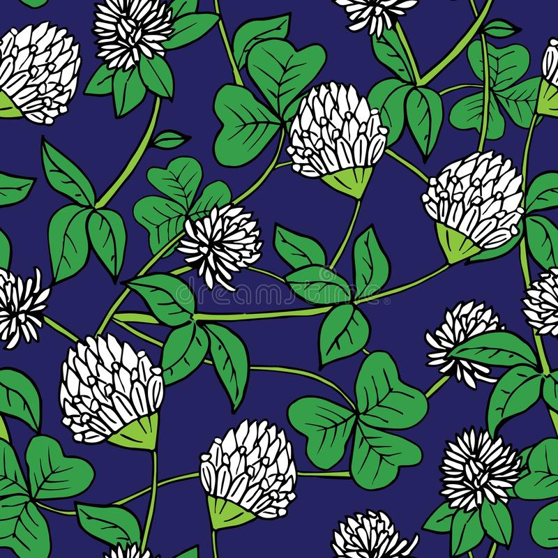 Hand drawn ink and color seamless vector floral pattern. Delicate white clover flowers with green leaves on dark blue stock illustration