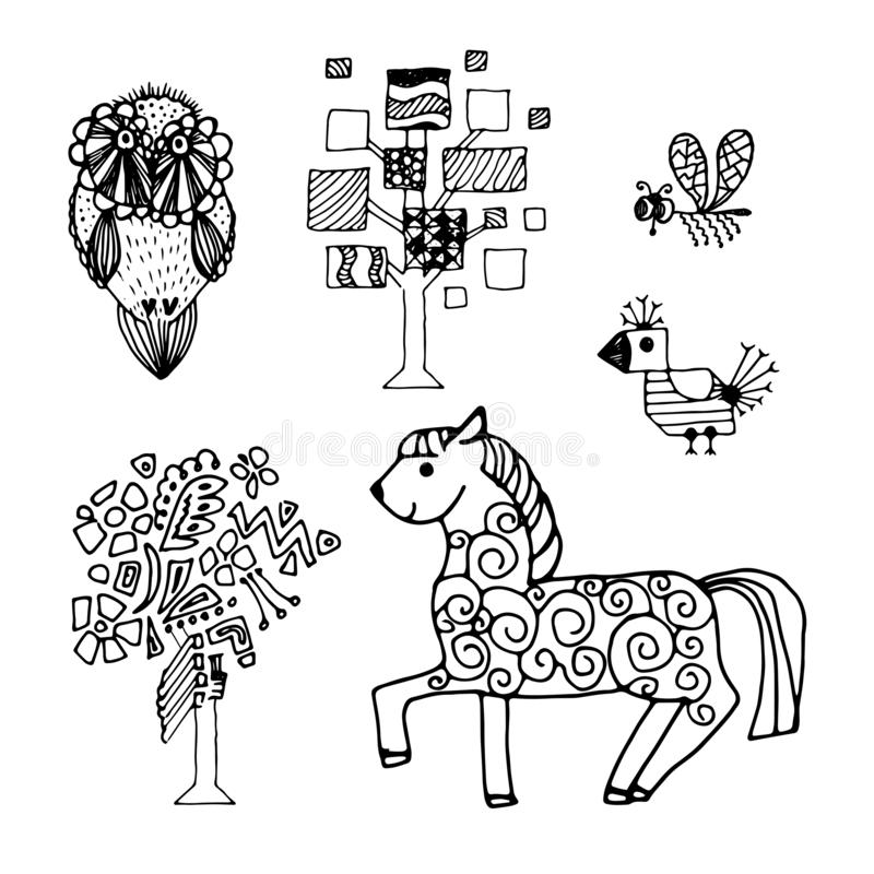 Hand drawn ink doodle fairy tale animals isolated stock illustration