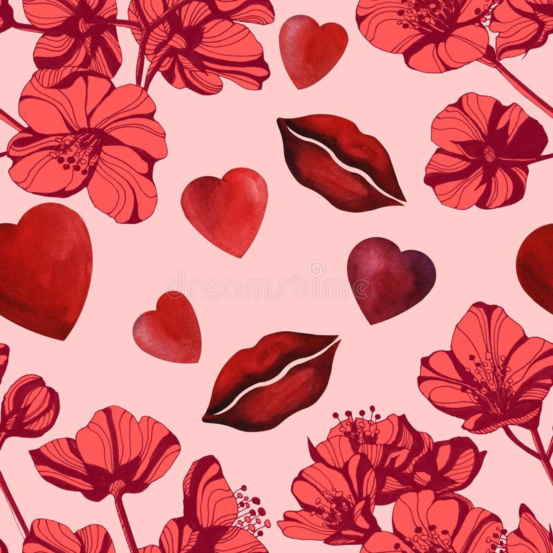 Hand drawn ink illustration jasmine flowers. Watercolor red heart and lips background vector illustration