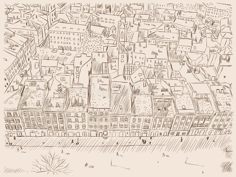 Hand drawn ink line sketch European old town. vector illustration