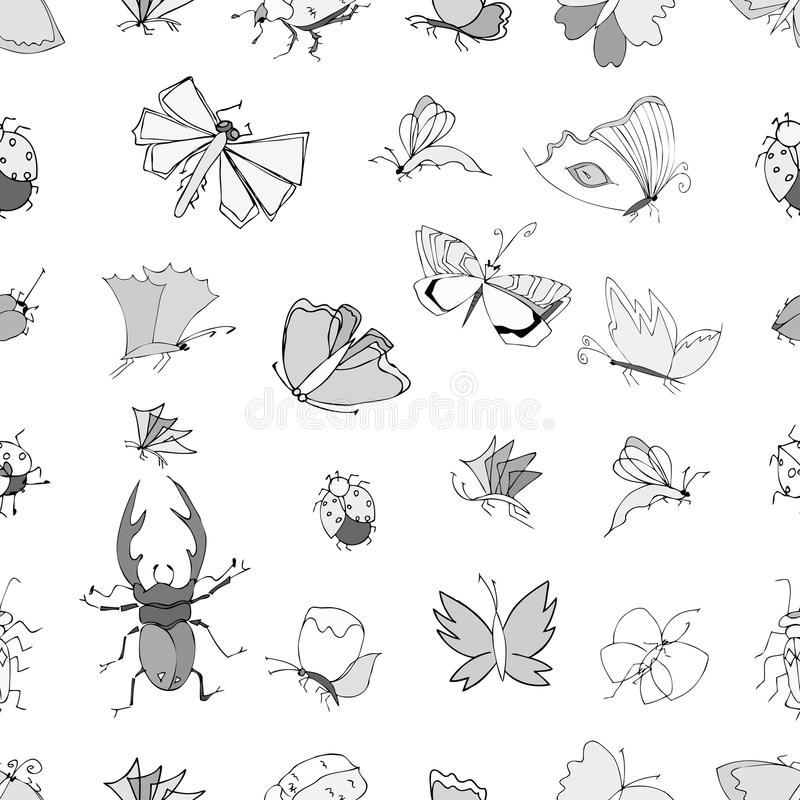 Hand drawn ink. Monochrome vector seamless pattern with hand drawn insects vector illustration
