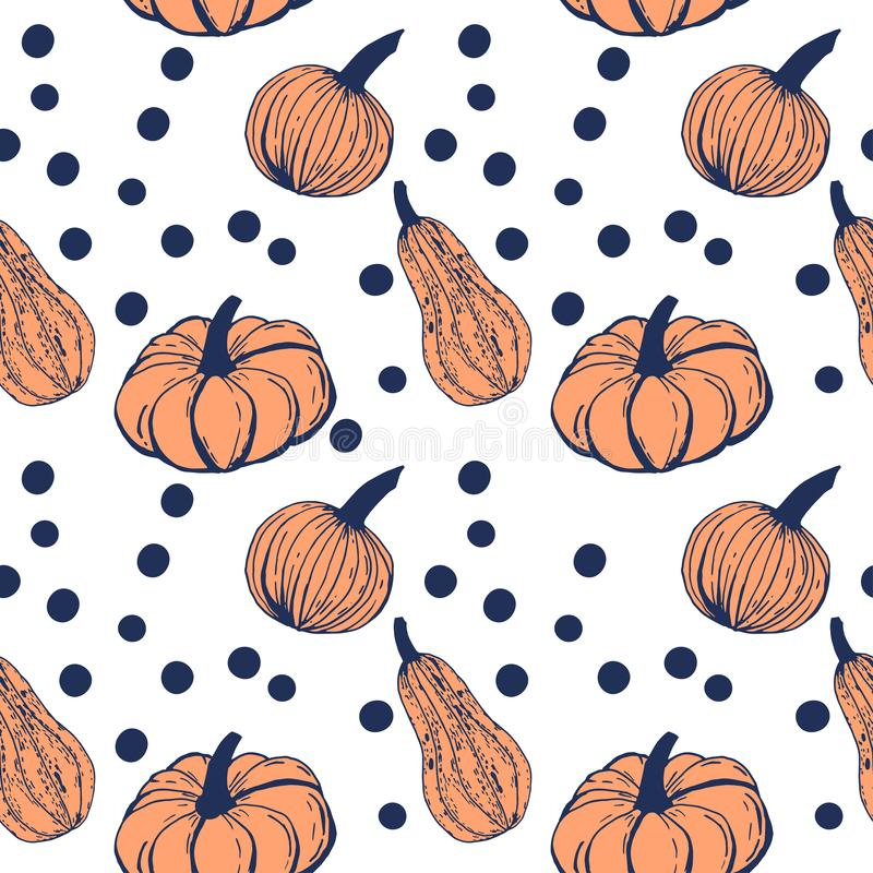Hand drawn ink pumpkins with polka dots on white background, vector seamless pattern vector illustration