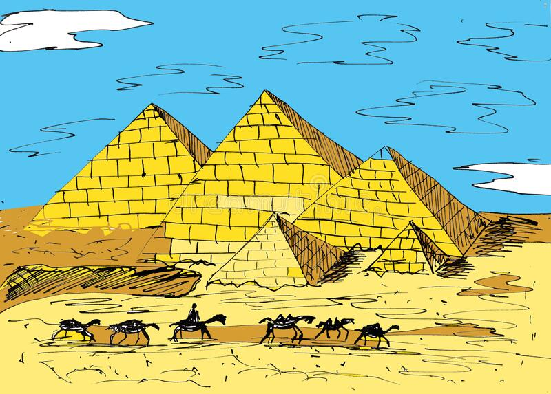 Hand drawn ink sketch. Ancient Egypt pyramids. Historical buildings in Cairo. Travelers on camel backs. Graphic black ourline illu. Stration. Line art. Yellow stock illustration