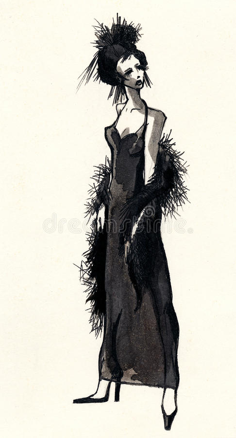 Hand drawn ink sketch with beautiful woman royalty free stock photos