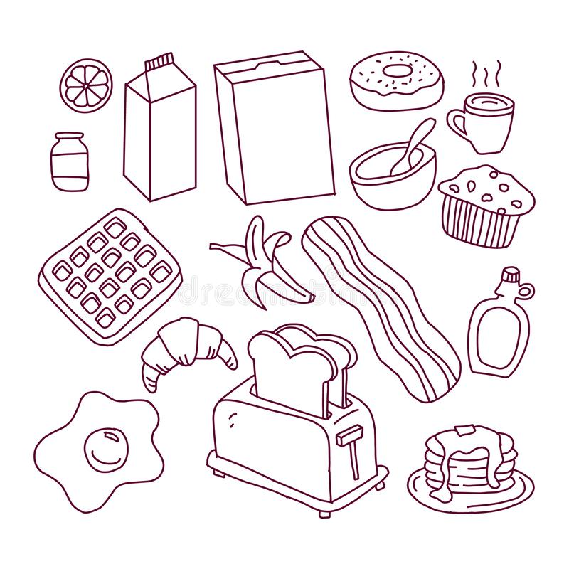 Hand drawn ink sketch icons set royalty free illustration