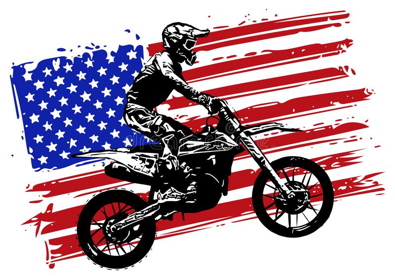 Hand drawn and inked American motocross motorcycle with american flag. Hand drawn and inked vintage American motocross motorcycle with american flag stock illustration