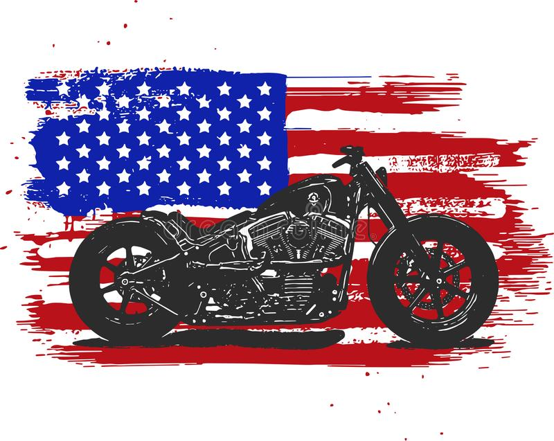 Hand drawn and inked vintage American chopper motorcycle with american flag. Hand drawn and inked vintage American chopper motorcycle vector illustration