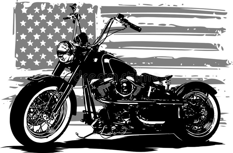 Hand drawn and inked vintage American chopper motorcycle with american flag. Hand drawn and inked vintage American chopper motorcycle royalty free illustration