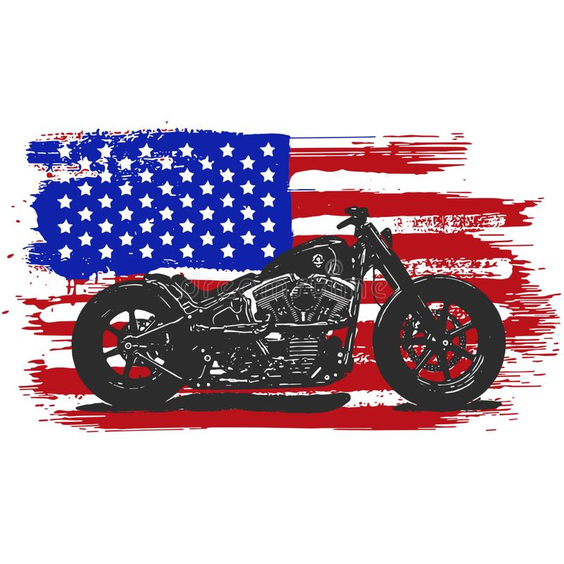 Hand drawn and inked vintage American chopper motorcycle with american flag. Hand drawn and inked vintage American chopper motorcycle stock illustration