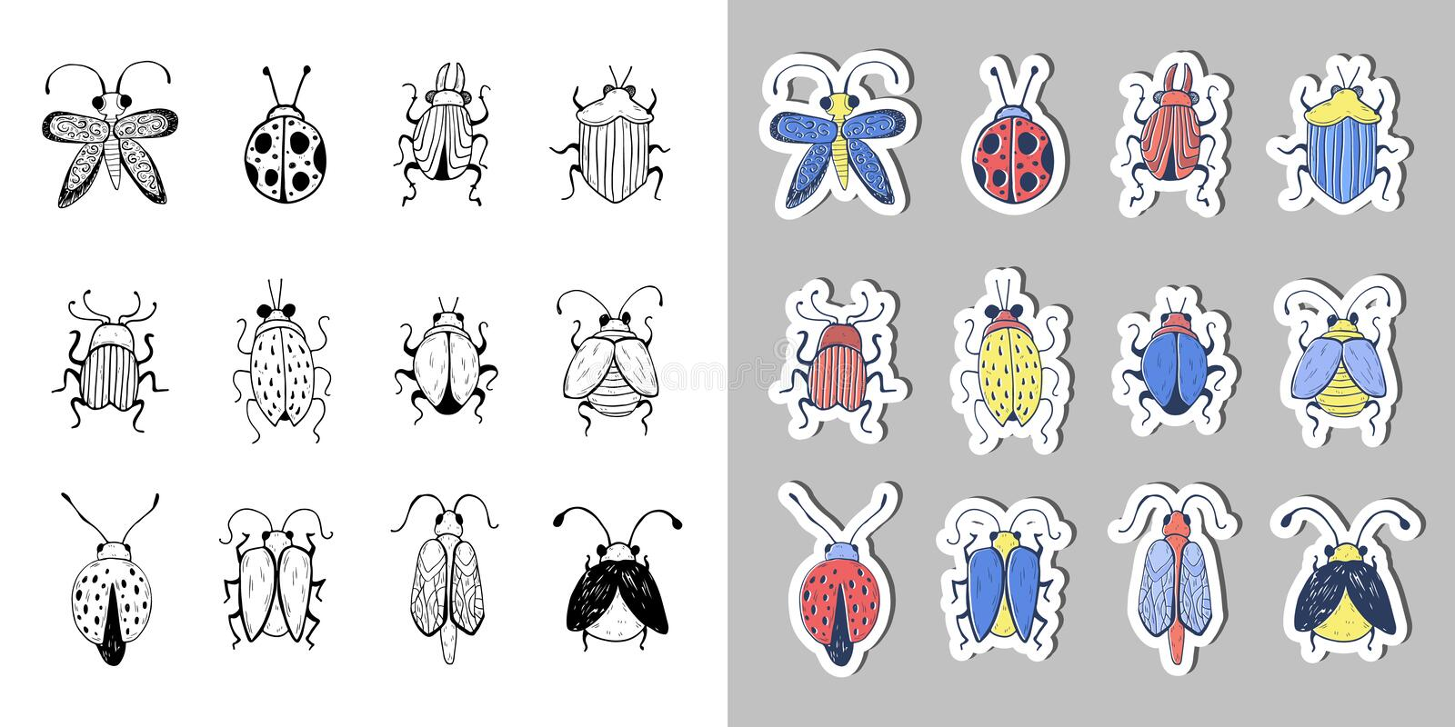 Hand drawn Insect Sketch Sticker Set. Design for handmade decorative brooch. Hand drawn Insect Sketch. Design for handmade decorative brooch. Can be used for stock illustration