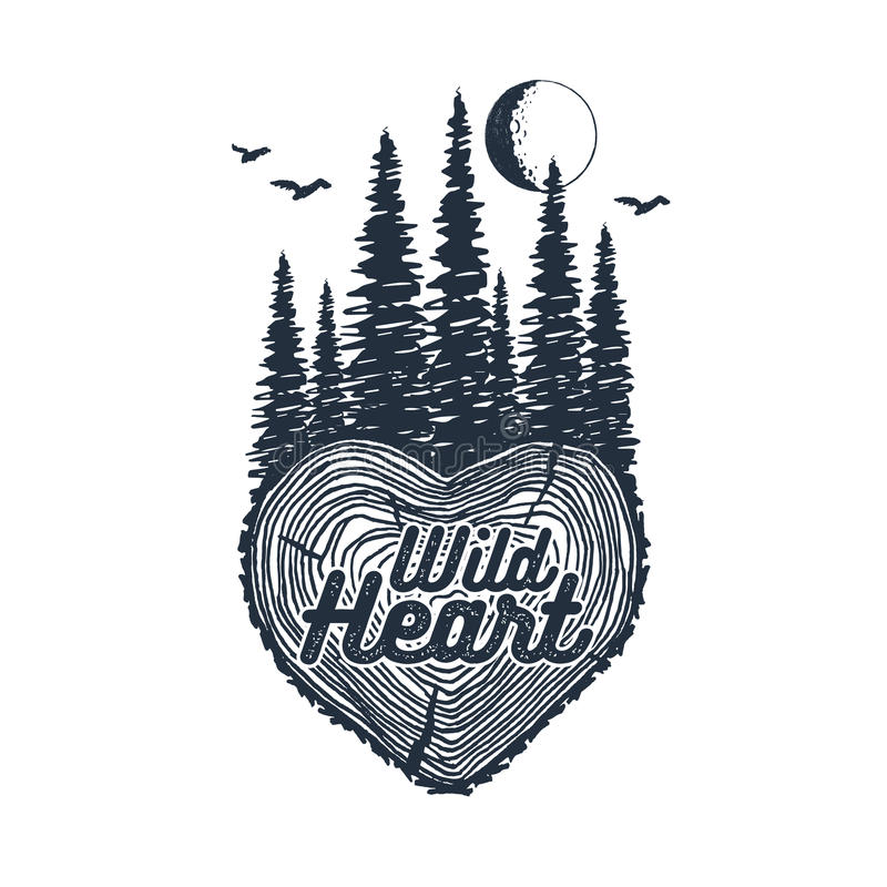 Hand drawn inspirational badge with textured forest vector illustration. vector illustration