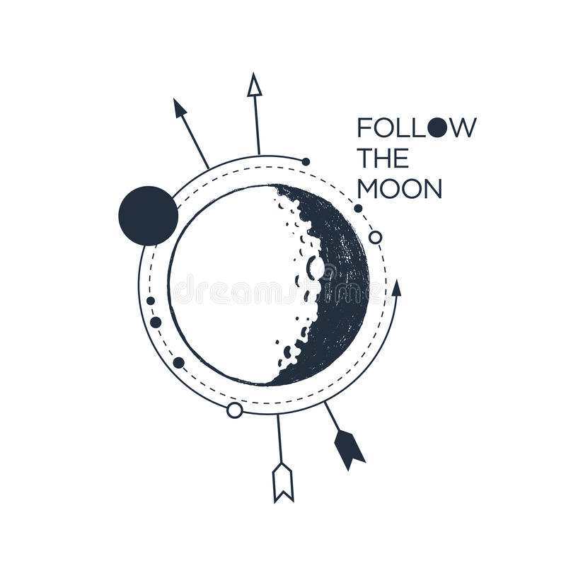 Hand drawn inspirational badge with textured moon vector illustration. And `Follow the moon` lettering stock illustration