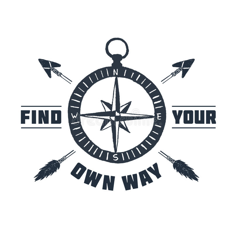 Hand drawn inspirational label with compass rose vector illustration. Hand drawn inspirational label with textured compass rose vector illustration and `Find stock illustration