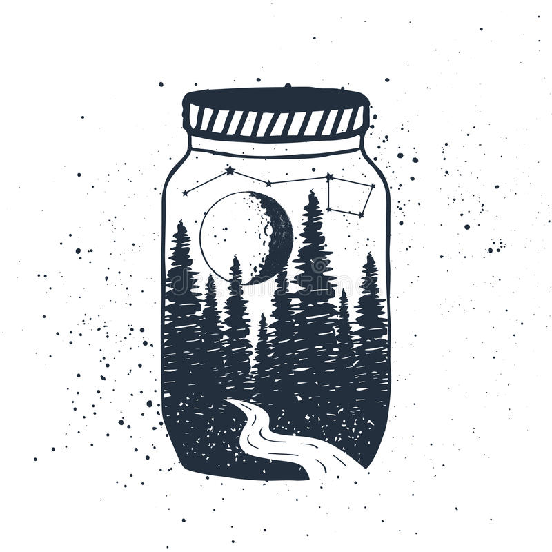 Hand drawn inspirational label with forest in a jar vector illustration stock illustration