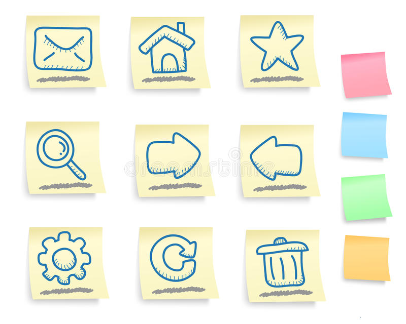 Hand drawn internet and web icons set stock illustration