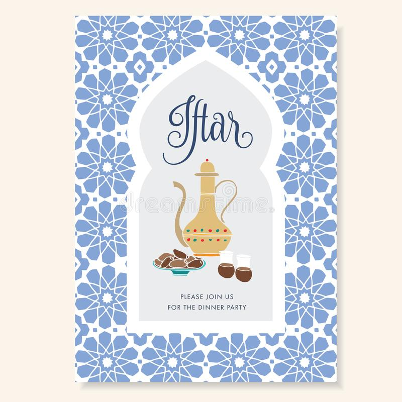 Hand drawn invitation for iftar dinner with teapot, tea cups, date fruit plate. Blue ornamental Moroccan pattern, arabic royalty free illustration