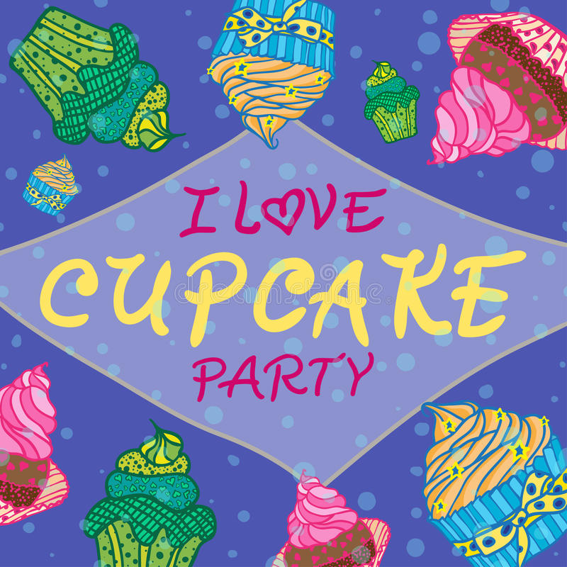 Download Hand Drawn Invitationfor Card  With Cupcakes,  Best For Party Cafe Or Restaurant Stock Illustration - Illustration of holiday, cafe: 51198742