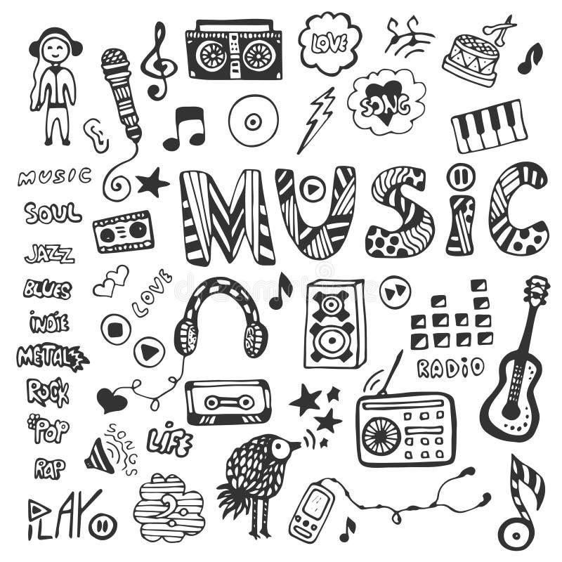 Hand-drawn inzameling met muziekkrabbels Geplaatste de pictogrammen van de muziek Vector illustratie royalty-vrije illustratie
