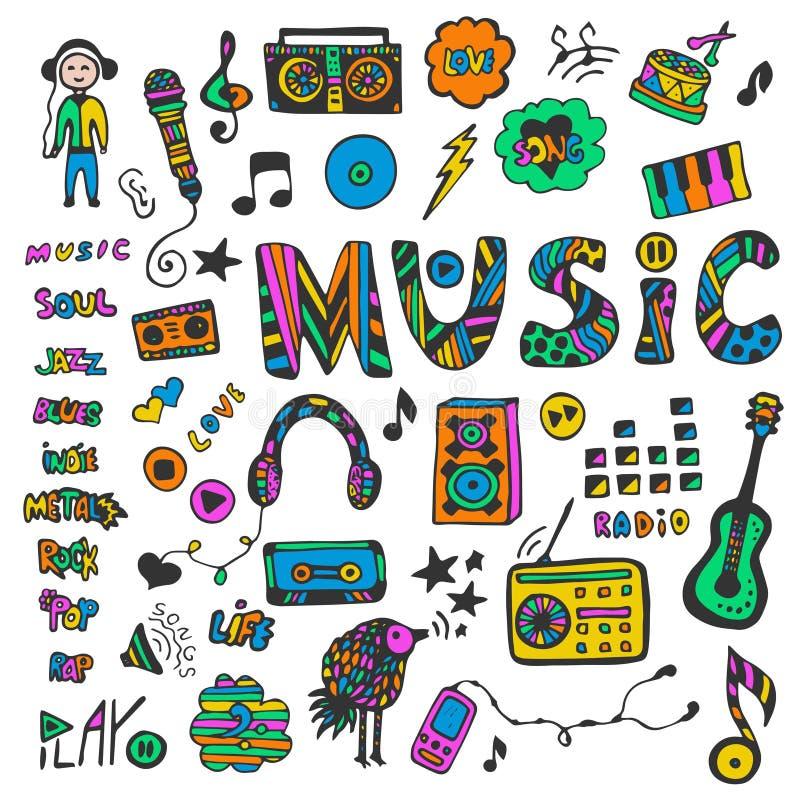 Hand-drawn inzameling met muziekkrabbels Kleurrijke geplaatste muziekpictogrammen De stijl van de hippie Vector illustratie vector illustratie