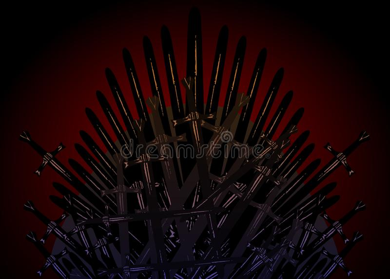 Hand drawn iron throne of the Middle Ages made of antique swords or metal blades. Ceremonial chair built of weapon dark brown stock illustration