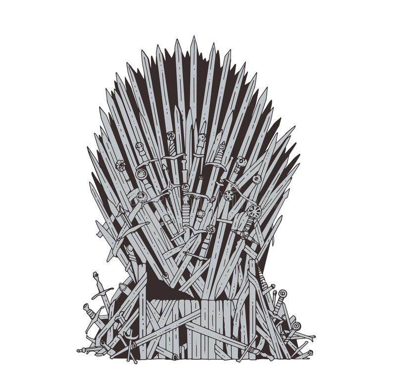 Hand drawn iron throne of Westeros made of antique swords or metal blades. Ceremonial chair built of weapon on vector illustration