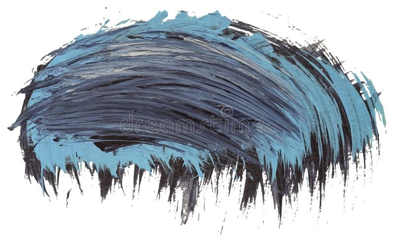 Hand drawn isolated acrylic cloud paint brush stripe with dirty blue colors stock illustration