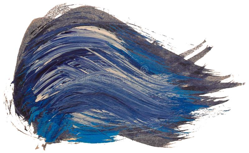 Hand drawn isolated black with blue and white acrylic paintbrush stripes royalty free illustration